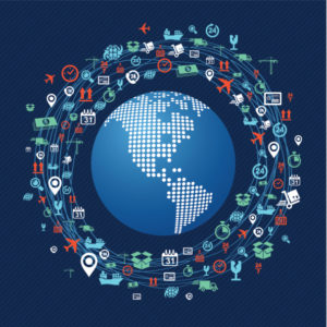 Shipping concept icons network circle around planet Earth.